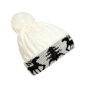 New Winter Warm Unisex Women Men Knit Ski Crochet Cap Beanie Hat White (Intl)