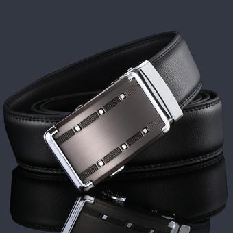 Thắt lưng nam da bò thật Flancoo 9981 (Khóa đen bạc)