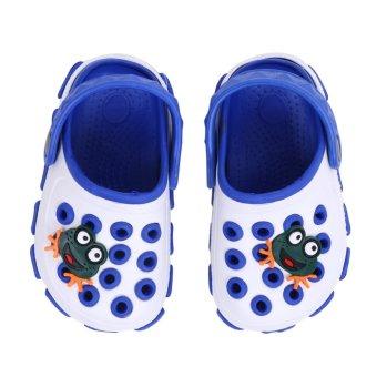 Boys Frog Cartoon Non-slip Hole Sandals Slippers (White) - intl
