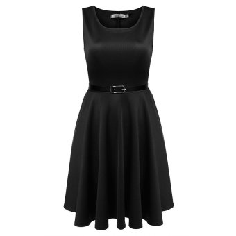 Cyber Meaneor Women Sleeveless High Waist Pleated Party Dress With Belt ( Black ) - Intl
