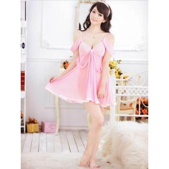 Đầm ngủ trễ vai dịu dàng CDAN09 RainStore (hồng)