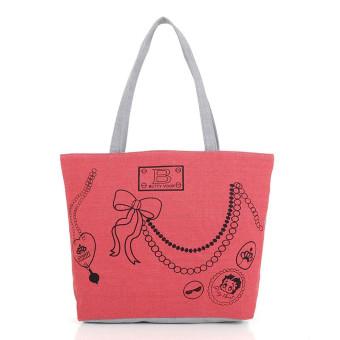 Girl Canvas Shoulder Bag Handbag Tote Shopping HandBags Red - Intl