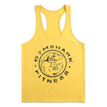 Moonar Men Gym Muscle Sleeveless Shirt Tank Top Sport Bodybuilding Shark Fitness Vest (Yellow) - Intl