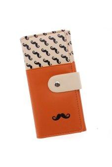 LALANG Women's Moustache Beard Zipper Leather Long Purse Wallet Card Orange - intl