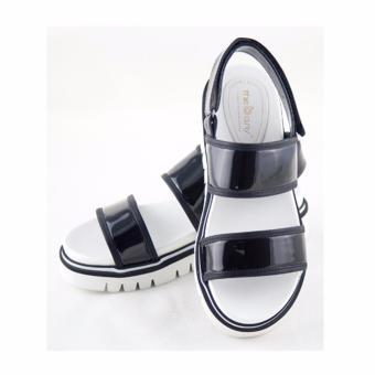 [The bany] Sandal đế bằng 4,5cm quai ngang đen bóng