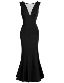 Linemart Women's Sleeveless Sheer Mesh V-Neck Package Hip Slit Party Maxi Dress ( Black ) - intl