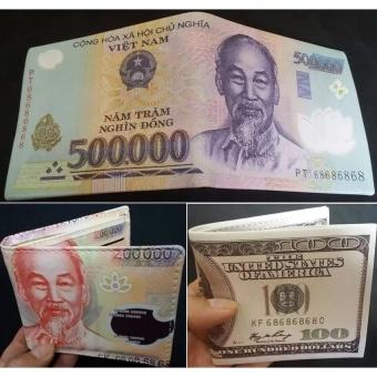 Bộ 3 bóp ví da nam in hình tiền tệ (500k 200k 100$ cổ điển)