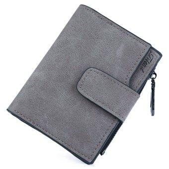 Letter Snap Fastener Zipper Short Clutch Wallet(Gray) - intl