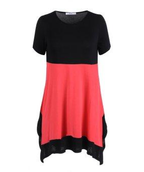 Sunweb Meaneor Fashion Ladies Women Casual Short Sleeve Patchwork Asymmetric Hem Loose Blouse ( Rose red ) - intl