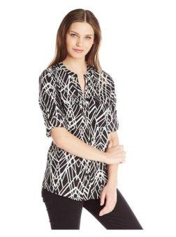 Áo sơ mi dài tay nữ cao cấp Calvin Klein Women's Printed Roll Sleeve, Black Cross Hatch (Mỹ)
