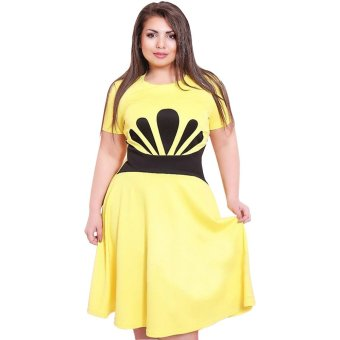Large Size Dress Short Sleeve Waist Pigment Printed L (Yellow) - Intl
