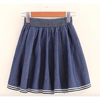 Chân váy ngắn nữ jeans dáng xoè xếp li kiểu sọc LTTA140