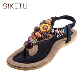 SIKETU Bohemia Beads Elastic Band Beach Flip-flop Sandals(Black) - intl