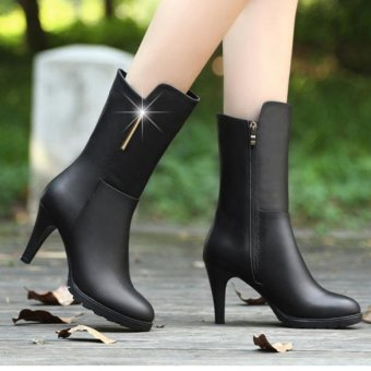 Giày boot cao cổ nữ B029 (Đen)