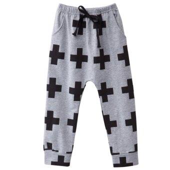 Chic Cross Print Cotton Elastic Waist Boys Harem Pants - intl