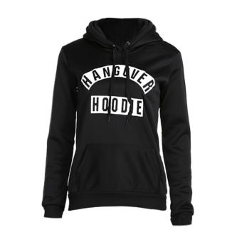 Women Letter Print Hooded Hoodies Slim Fit Pullover Sweatershirt - intl