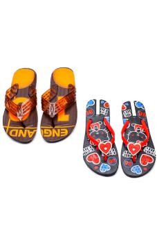 Bộ 2 đôi dép kẹp nam nữ HUỲNH TIÊN HTDNN-004 (Đỏ và cam)