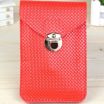 Moonar Women Fashion PU Leather Clasp Mini Crossbody Mobile Phone Bag Money Purse (Red) - intl