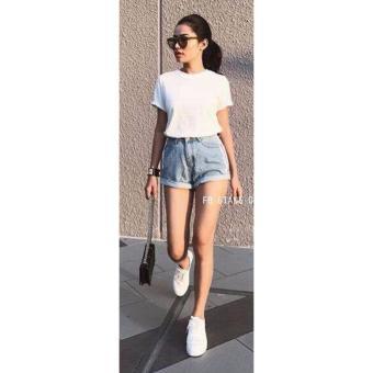 Quần short jean nữ thòi trang (xanh nhạt)
