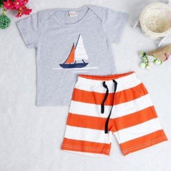 Kid T-Shirt + Striped Beach Pants Set Gray - Intl