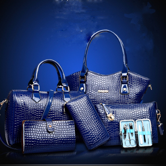 Bộ 6 tiện dụng gồm:Túi lớn,túi đeo chéo,2 ví cầm tay,1namcard+1hộp-xanh 159