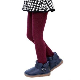 Winter Girls Pants Children Thick Warm Elastic Waist Leggings Red - intl