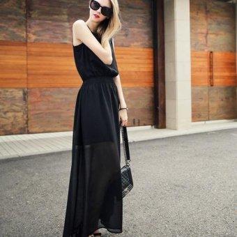 Đầm dài 2 lớp xuyên thấu không tay cổ tròn thời trang nữ tính Hàn Quốc Urban Horizon FM0081 (Đen)