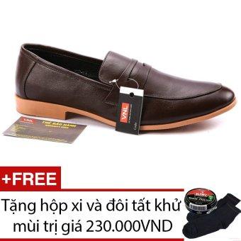 Giày tây nam da thật Da Giày Việt Nam VNLL1AZA802QN (Nâu) + Tặng hộp xi và đôi tất khử mùi