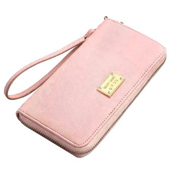 Women Girl Lady Zipper PU Leather Long Clutch Wallet Purse with Card Holder Money Bag Solid Color Pink - intl