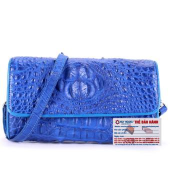 HL6263 - Túi đeo nữ da cá sấu Huy Hoàng màu xanh dương
