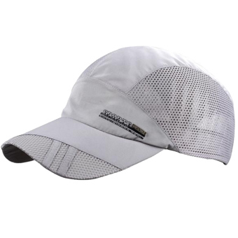 Unisex Summer Outdoor Sport Breathable Quick Dry Baseball Caps Solid Adjustable Sun Visor Hat Gray - intl