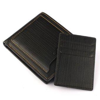 Men PU Wallet Pockets Money Purse ID Credit Card Clutch Bifold Classic Black