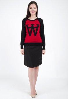 Áo len nữ chữ HQLens (Đỏ phối Đen)