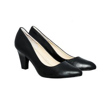 Giày nữ cao gót 8cm da bò thật cao cấp màu đen ESW33