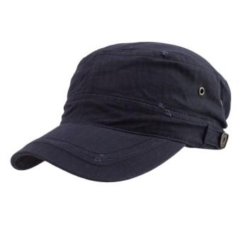 Casual Cotton Cloth Flat Top Cap DarkBlue - Intl