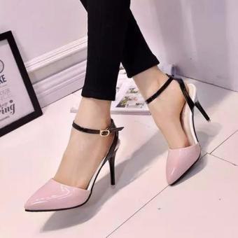 Giày cao gót Da bóng phối sang trọng - 119 (Hồng)