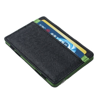 Mens transverse Faux Leather Magic Credit Card Money Clip Wallet Green