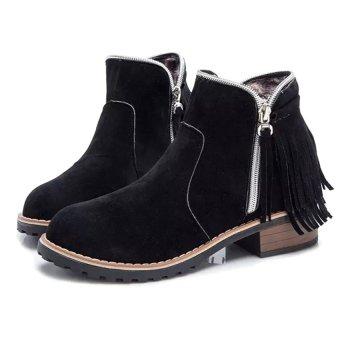 Giày Boot Nữ Cổ Ngắn Tua Rua Phong Cách Bohemian Doni86 BT223D (Đen)