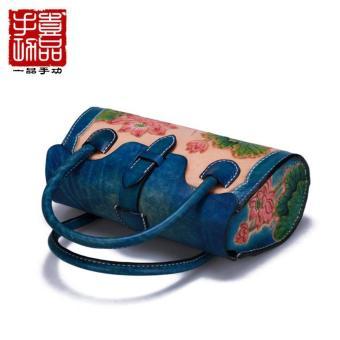 Túi xách nữ thời trang họa tiết hoa sen da thật cao cấp