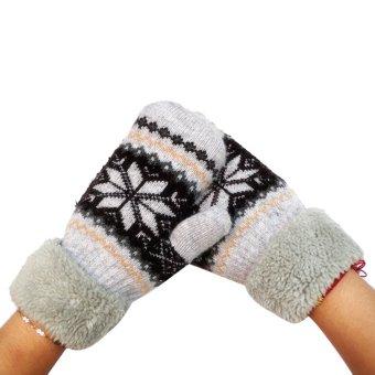 Women's Warm Winter Snow Gloves Mittens Beige - Intl