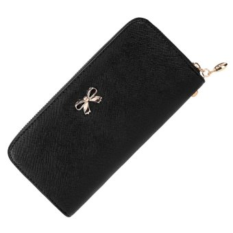 Cyber Women Fashion Synthetic Leather Zip Around Solid Purse Credit ID Card Holder Long Clutch Wallet with Wrist Strap (Black) - Intl
