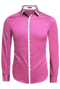 Cyber COOFANDY Men Fashion Dual Turn Down Collar Long Sleeve Solid Cotton Button Down Casual Shirts (Intl) - intl