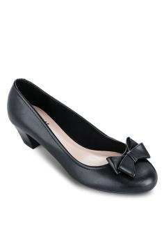 Giày Bít Tròn Nơ Bướm Gót Thô 3cm (Đen)