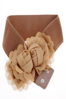 Double Rose Flower Buckle Style Elastic Belt Waistband (Coffee) - Intl
