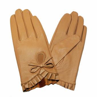 Găng tay nữ da dê thất (Be vàng)