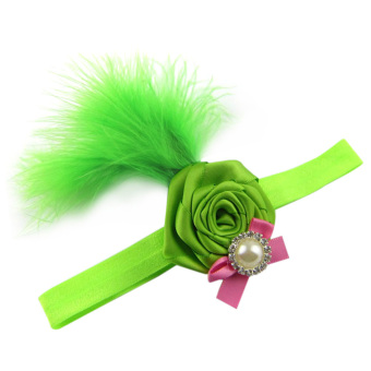 Fancyqube Baby Hair Accessories Toddler Diamante Rose FeatherHeadband Flower Green
