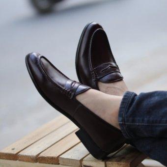 Giày da nam Loafer - Thời trang công sở Kazin màu nâu mận- KZNM021