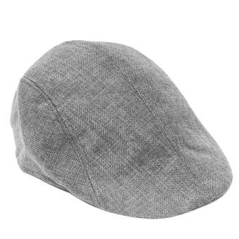 Unisex Linen-textured Pure Color Flat Peak Beret Cap Hat Grey (Intl)