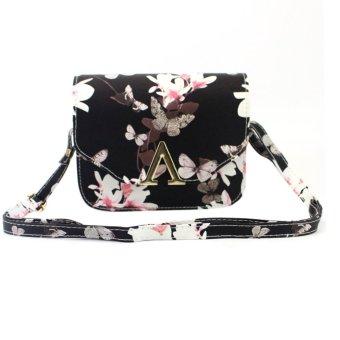 Women PU Leather Floral Print Shoulder Bag (Black) - intl