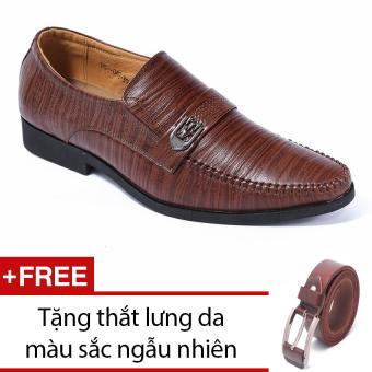Giày da công sở lịch lãm da sọc nâu SMARTMEN GL-024 + Tặng thắt lưng da màu sắc ngẫu nhiên